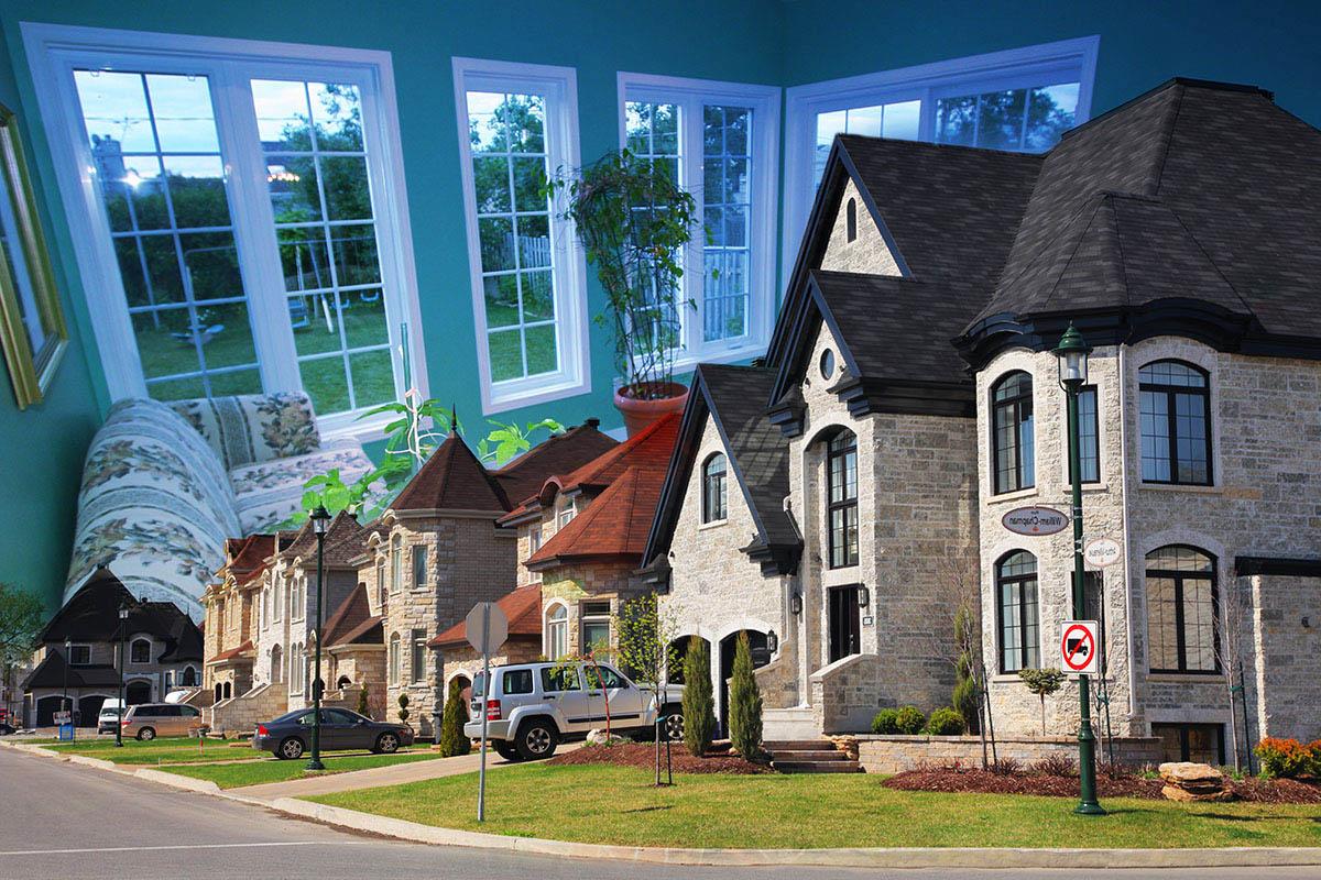 Cozy Neighborhood Photo Montage - Royalty-Free Stock Imagery