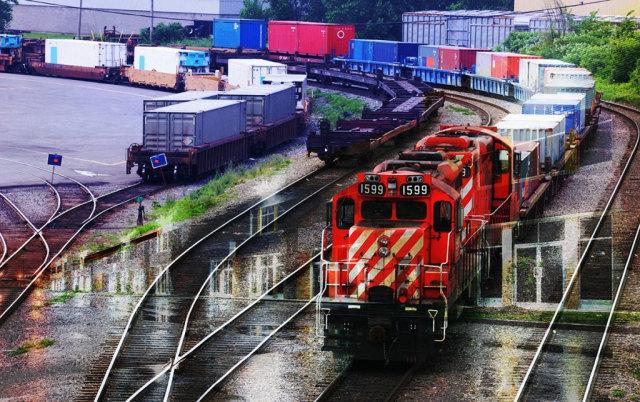 Railroad Transport Concept Photo Montage 01 - Royalty-Free Stock Imagery