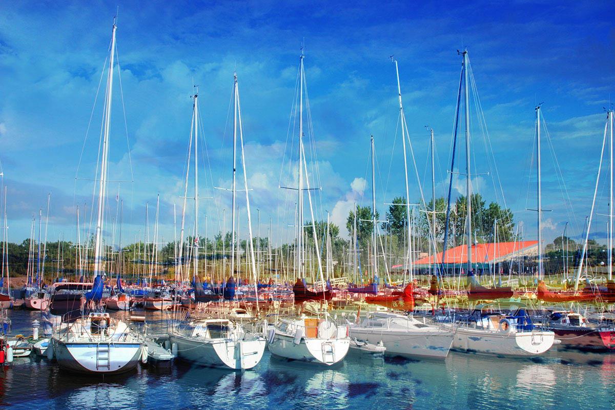 Sail Boats Marina Photo Montage - Royalty-Free Stock Imagery