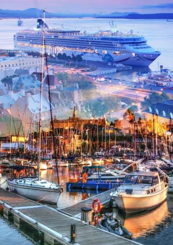 Urban Marina and Dock Photo Montage - Royalty-Free Stock Imagery