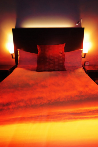 Sunset Bed Cover 2 - Royalty-Free Stock Imagery