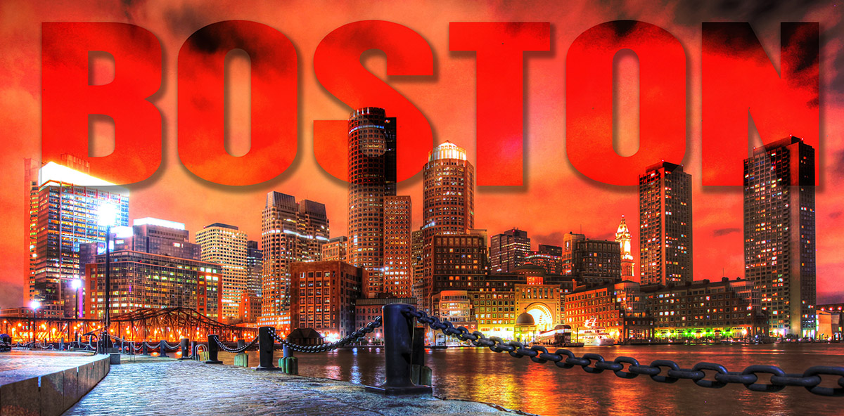 Boston City with Text 1 - Royalty-Free Stock Imagery