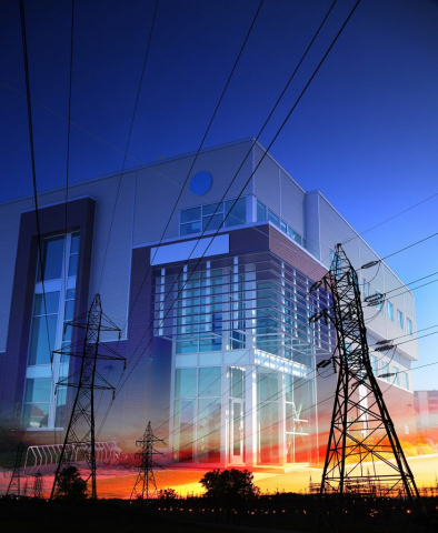 Office Building with Electric Pylons Photo Montage - Royalty-Free Stock Imagery