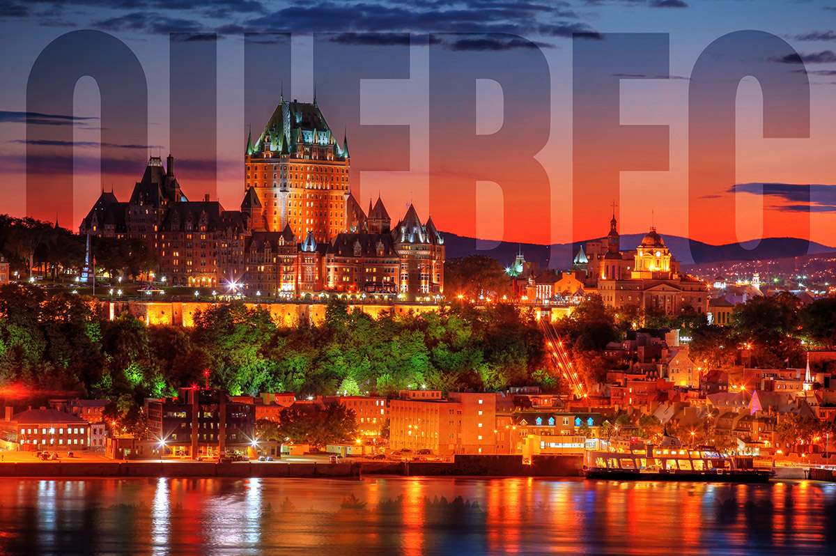Quebec Frontenac Castle Montage with Text 02 - Royalty-Free Stock Imagery