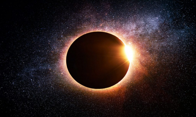 Solar Eclipse in Space - Royalty-Free Stock Imagery