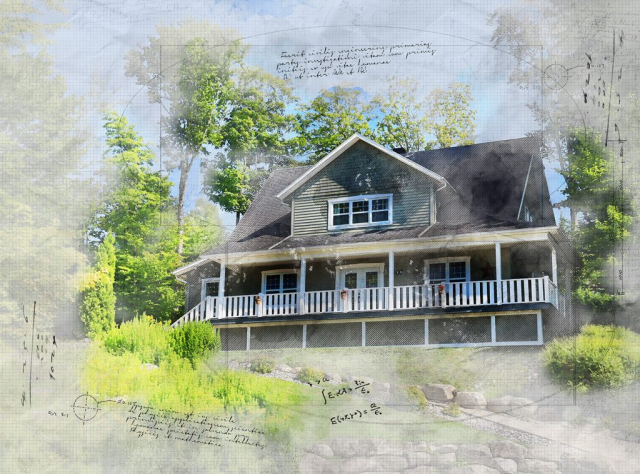 Beautiful Country House Sketch Image - Royalty-Free Stock Imagery