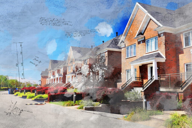 Colorful Urban Houses Sketch Image - Royalty-Free Stock Imagery