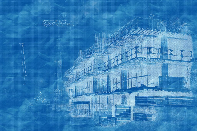 Construction Project Blueprint Sketch Image - Royalty-Free Stock Imagery