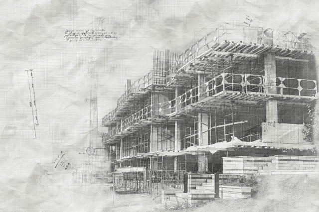 Construction Project Sketch B&W Image - Royalty-Free Stock Imagery