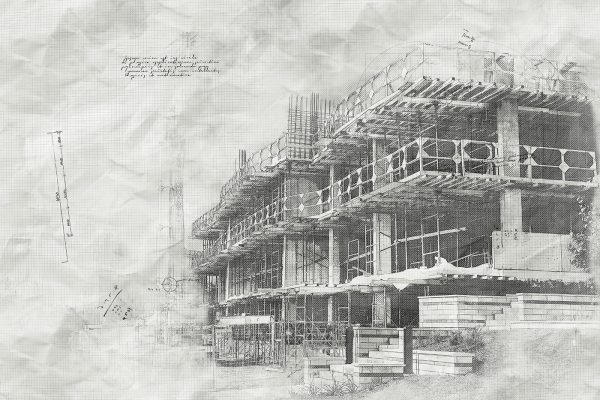 Construction Project Sketch B&W Image