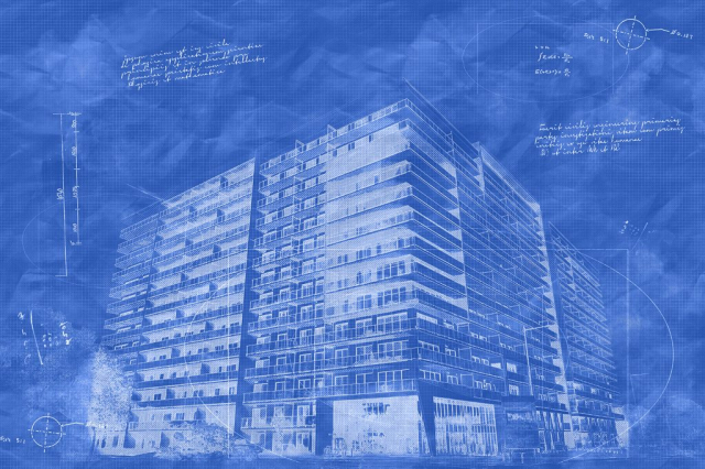 Large Condominium Building Sketch Blueprint Image - Royalty-Free Stock Imagery