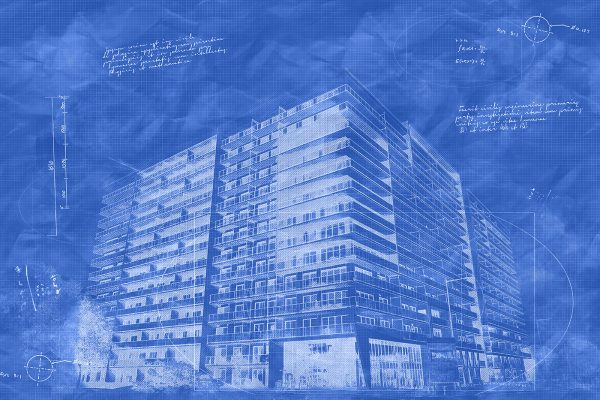 Large Condominium Building Sketch Blueprint Image