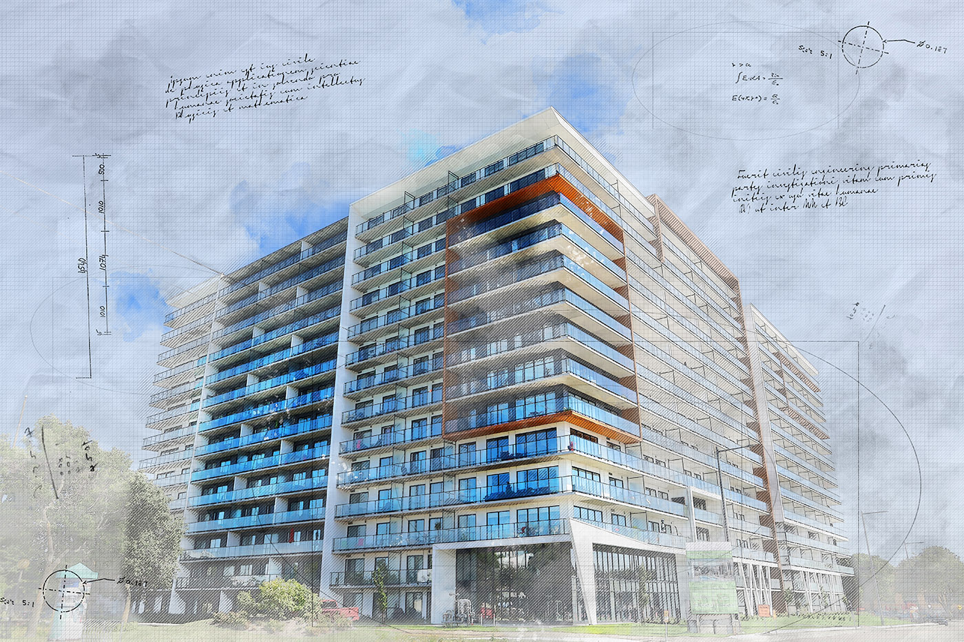 Large Condominium Building Sketch Image - Royalty-Free Stock Imagery