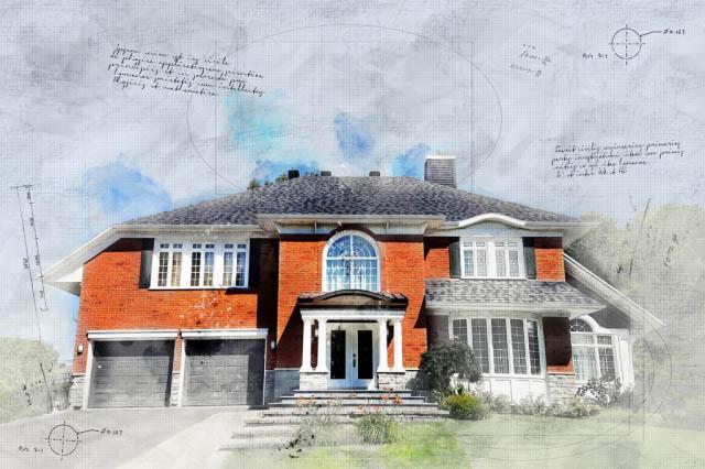 Large Luxury Habitation Sketch Image - Royalty-Free Stock Imagery