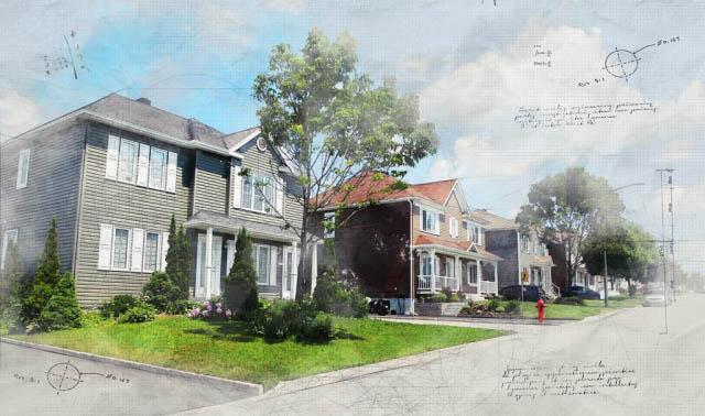 Modern Residential Neighborhood Sketch Image - Royalty-Free Stock Imagery