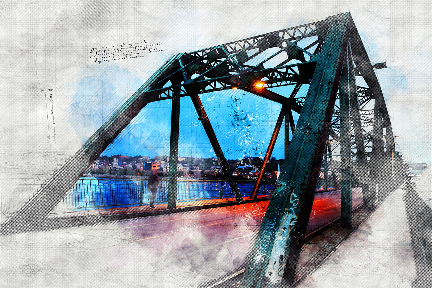 Old Bridge over the Saguenay River Sketch Image - Royalty-Free Stock Imagery