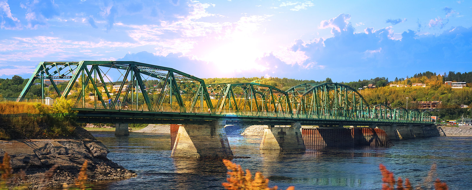 Old Saguenay Bridge and River - Royalty-Free Stock Imagery