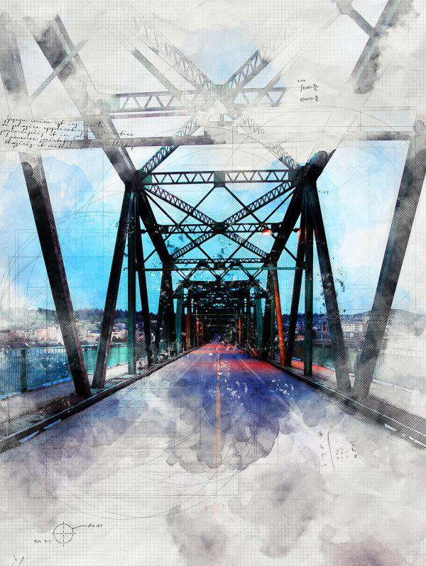 Old Saguenay City Bridge Sketch Image