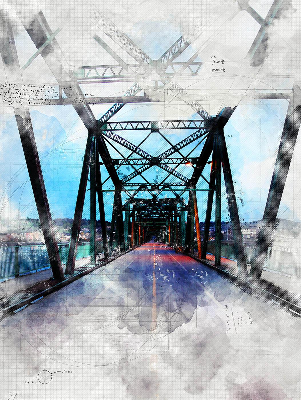 Old Saguenay City Bridge Sketch Image - Royalty-Free Stock Imagery