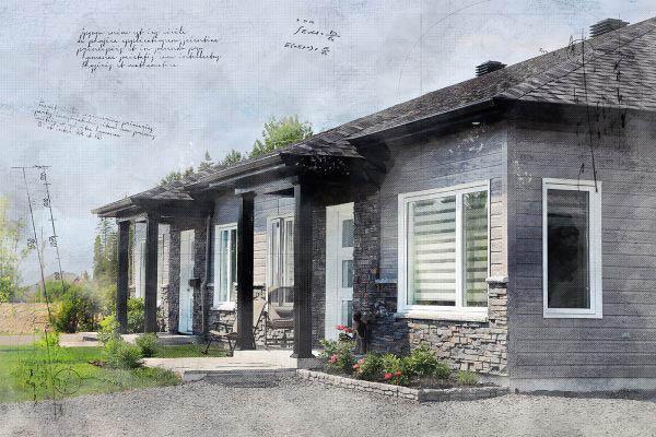 Semi Detached House Sketch Image
