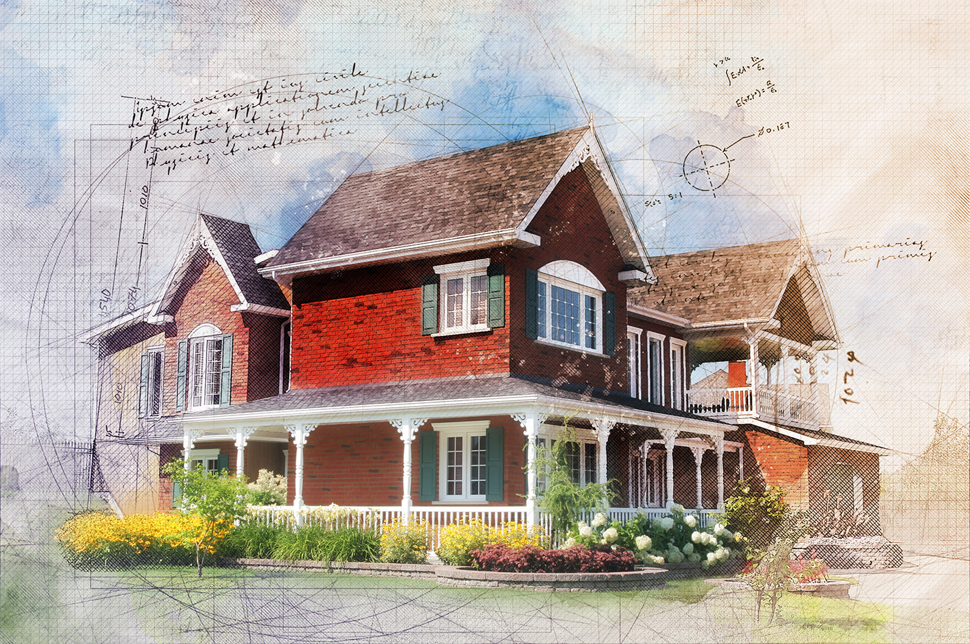 Beautiful Cottage Sketch Image - Royalty-Free Stock Imagery