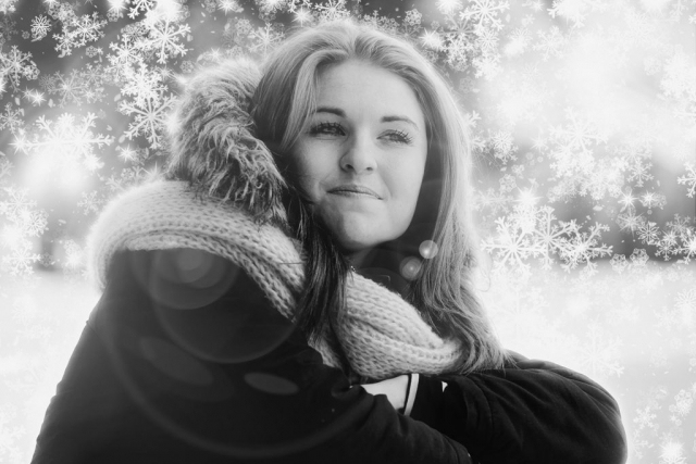 Pretty Woman in Snowy Winter Stock Photo Montage - Royalty-Free Stock Imagery