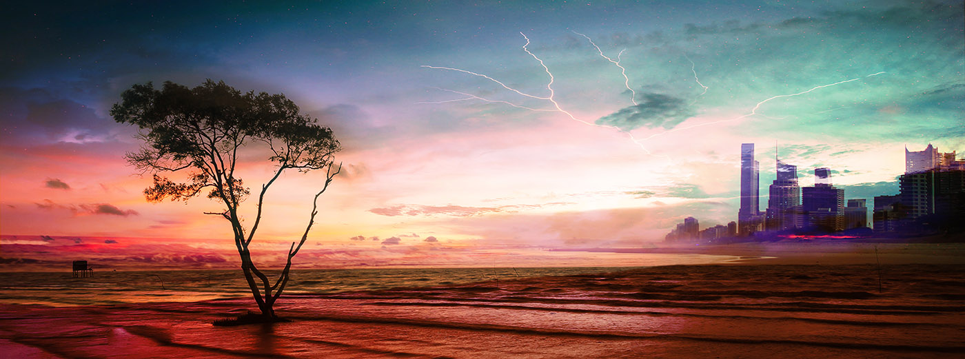 Colorful Apocalyptic Landscape 06 - Royalty-Free Stock Imagery