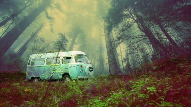 Vintage VW Camper Van Road Trip 03 - Royalty-Free Stock Imagery