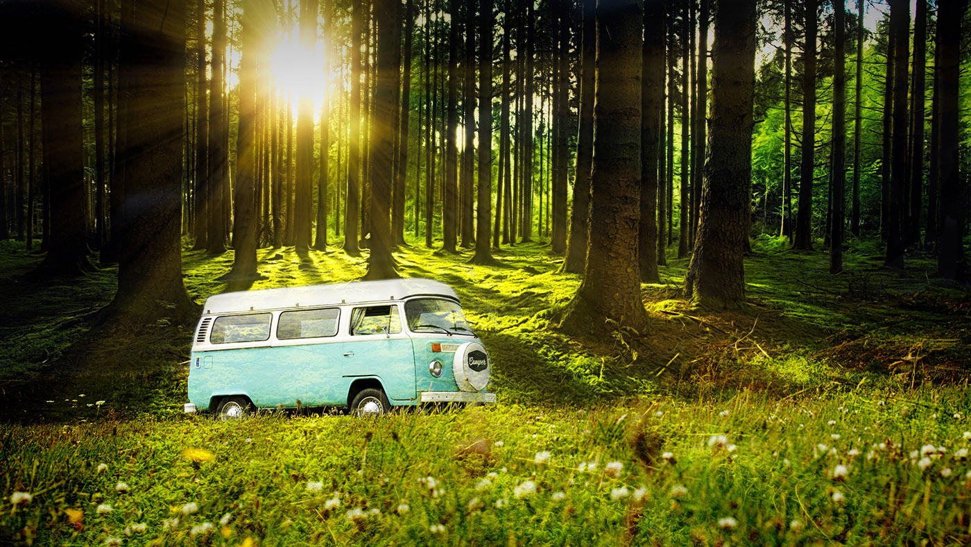 Vintage VW Camper Van Road Trip 04 - Royalty-Free Stock Imagery