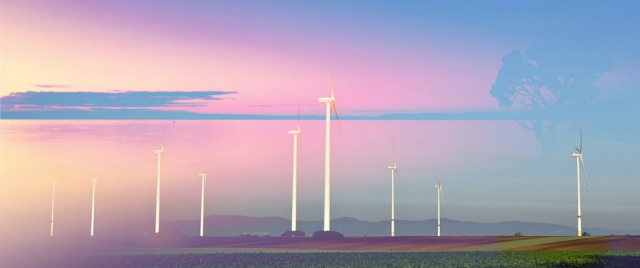 Windmills at Sunset 02 - Royalty-Free Stock Imagery