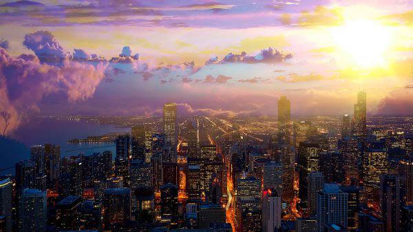 Beautiful Chicago City at Night 01