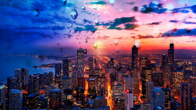 Beautiful Chicago City at Night 02 - Royalty-Free Stock Imagery