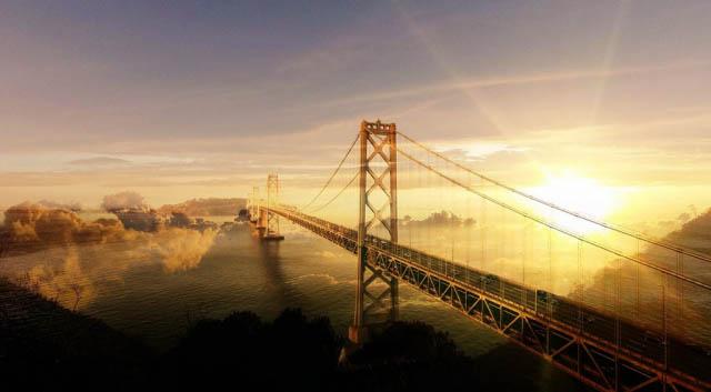 Surreal Suspension Bridge 02 - Royalty-Free Stock Imagery