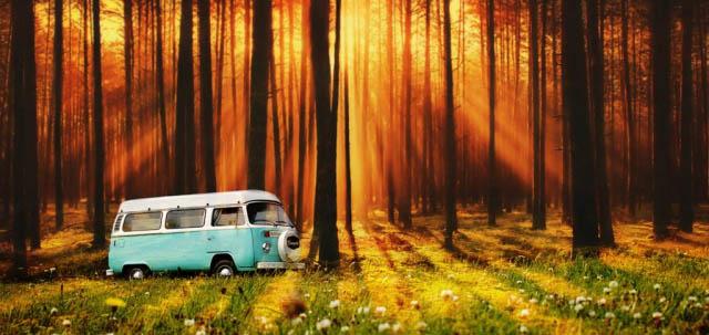 Vintage VW Camper Van Road Trip 07 - Royalty-Free Stock Imagery