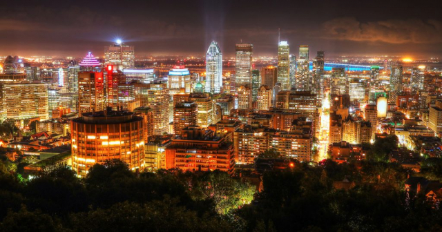 2020 Montreal City Sight at Night From Mount Royal Lookout - Royalty-Free Stock Imagery