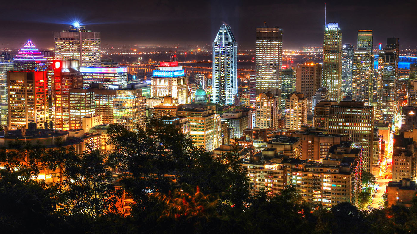 2020 Montreal City View at Night From Mount Royal Lookout - Royalty-Free Stock Imagery