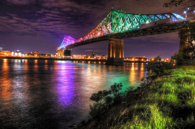 Colorful Jacques Cartier Bridge in Montreal City during Covid 19 Image - Royalty-Free Stock Imagery