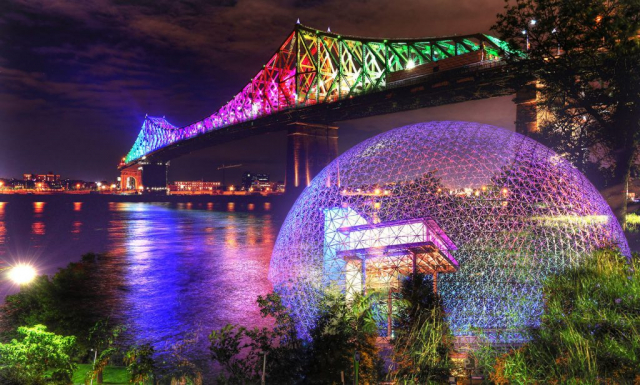 Montreal Jacques Cartier Bridge and Biosphere at Night Photo Montage - Royalty-Free Stock Imagery