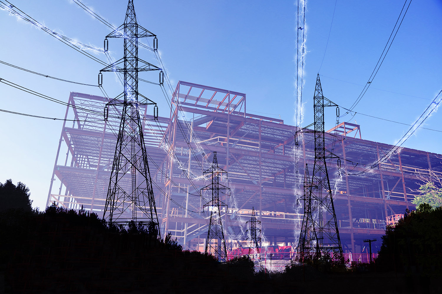 Construction Industry Electrification in Blue - Royalty-Free Stock Imagery