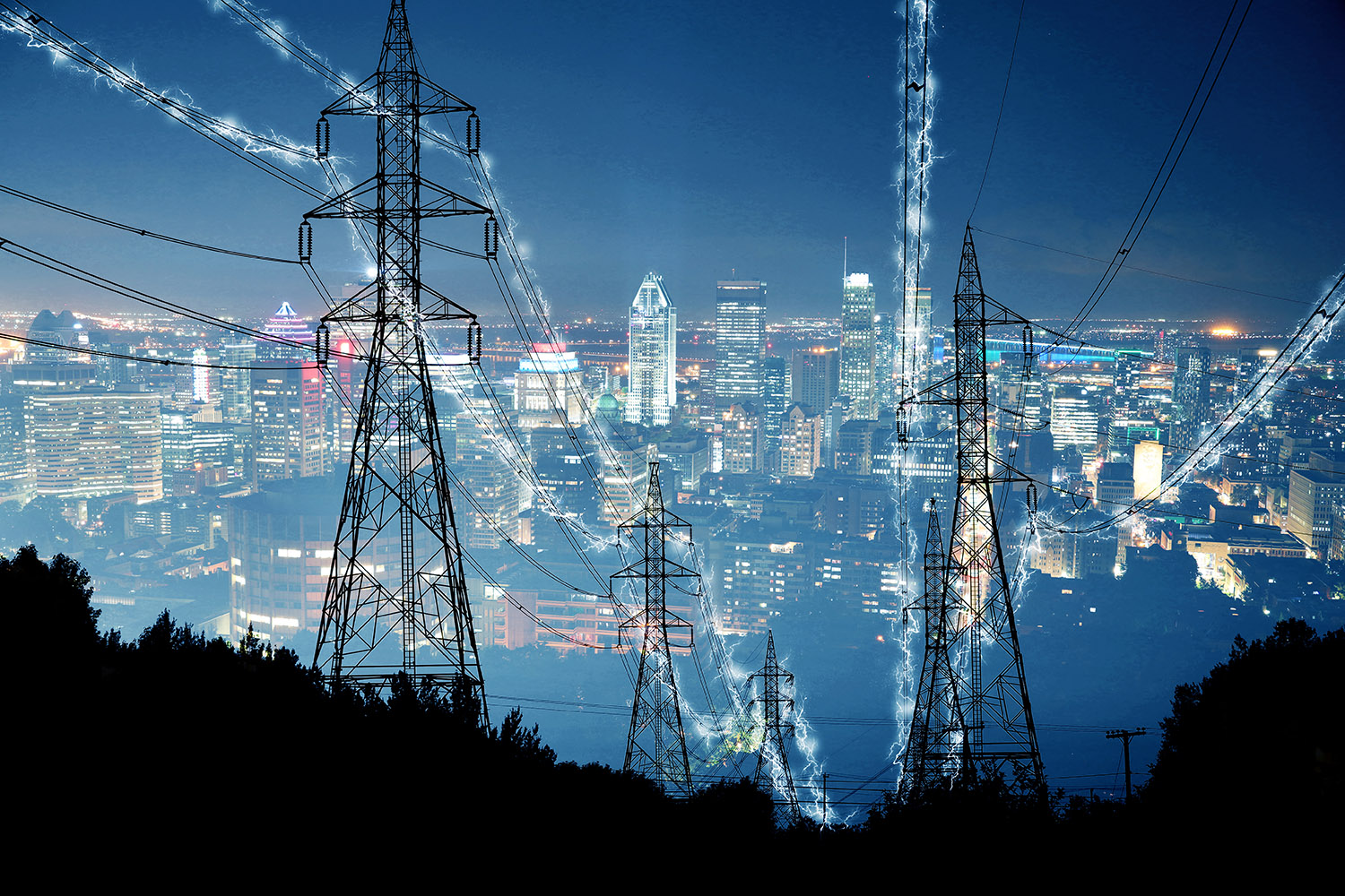 Metropolitan Electrification in Blue - Royalty-Free Stock Imagery