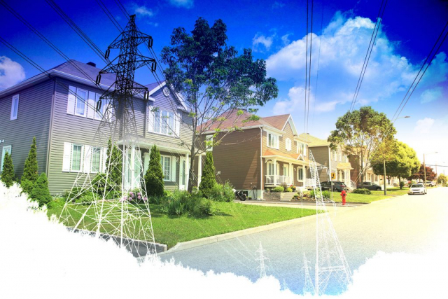 Residential Street Electrification on White - Royalty-Free Stock Imagery