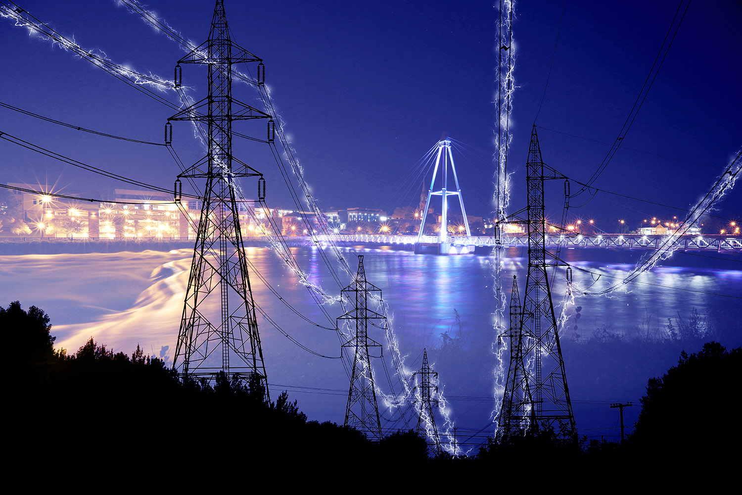 Small Town Electrification at Night in Blue - Royalty-Free Stock Imagery