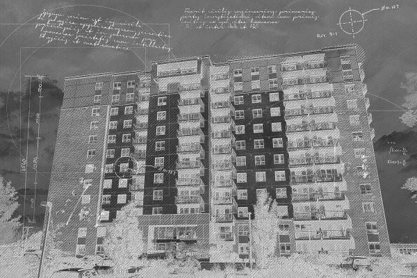 Mid-Rise Apartment Building Construction Black Blueprint Design