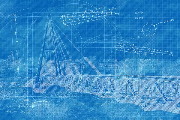 Modern Pedestrian River Cross Footbridge in Blueprint